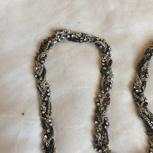 Jewelry - Chain drape necklace. Pewter, silver and crystal